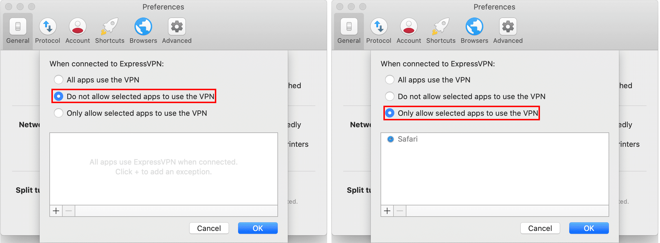 ExpressVPN Split Tuneling Settings